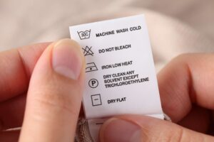A care label being translated for retail